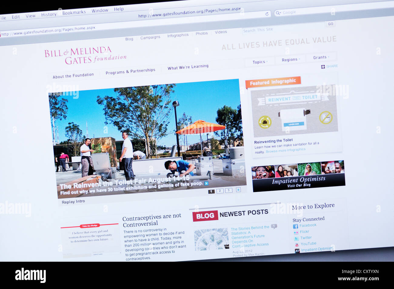 Bill & Melinda Gates Foundation website - Stock Image