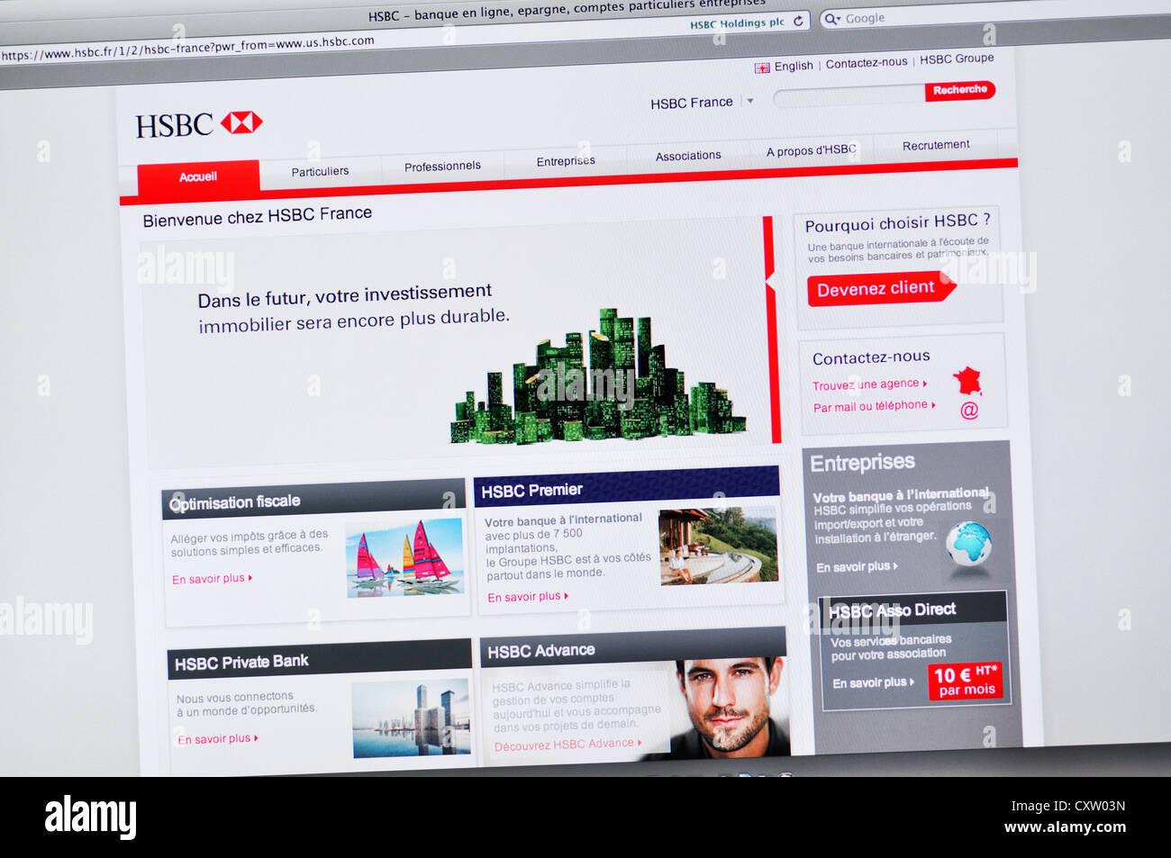 HSBC bank France website - online banking Stock Photo
