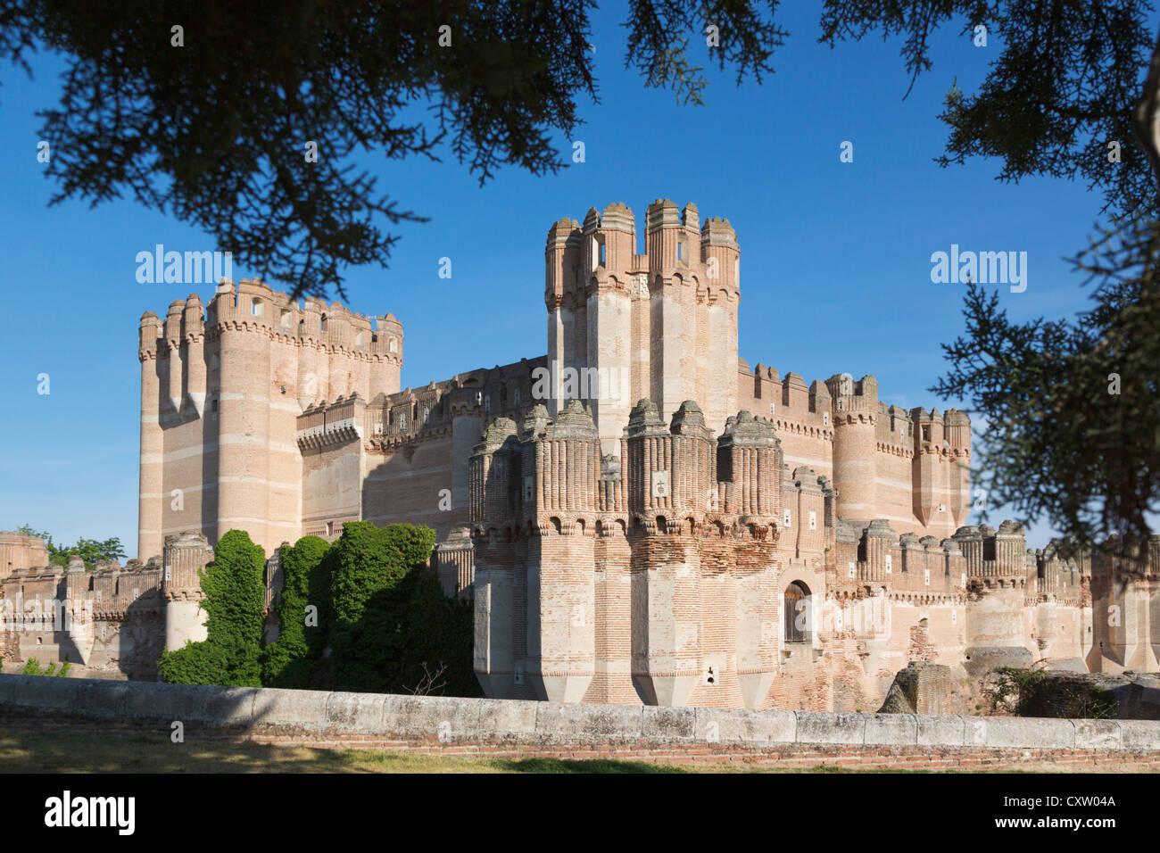 Coca, Segovia Province, Spain. Castillo de Coca. Coca castle. Important example of Mudéjar military architecture. - Stock Image