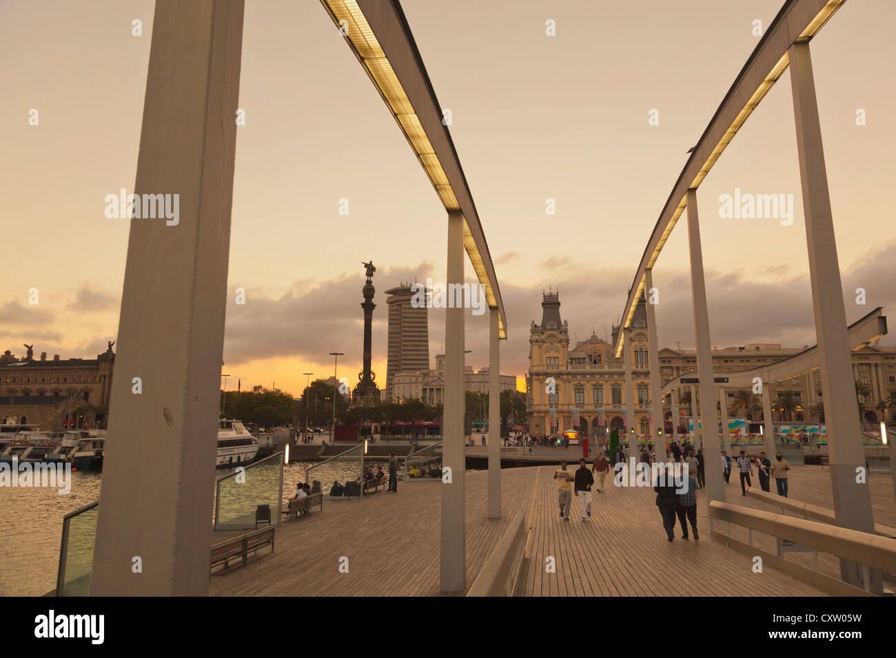 Barcelona, Spain. Waterfront seen from Rambla de Mar. - Stock Image