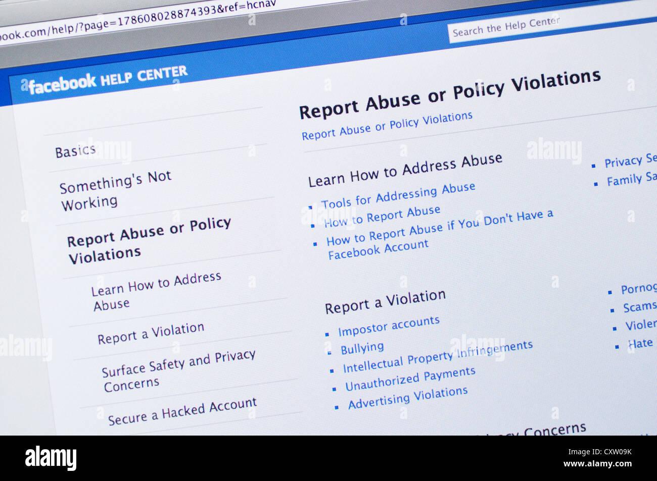 Facebook online social networking - help center and abuse