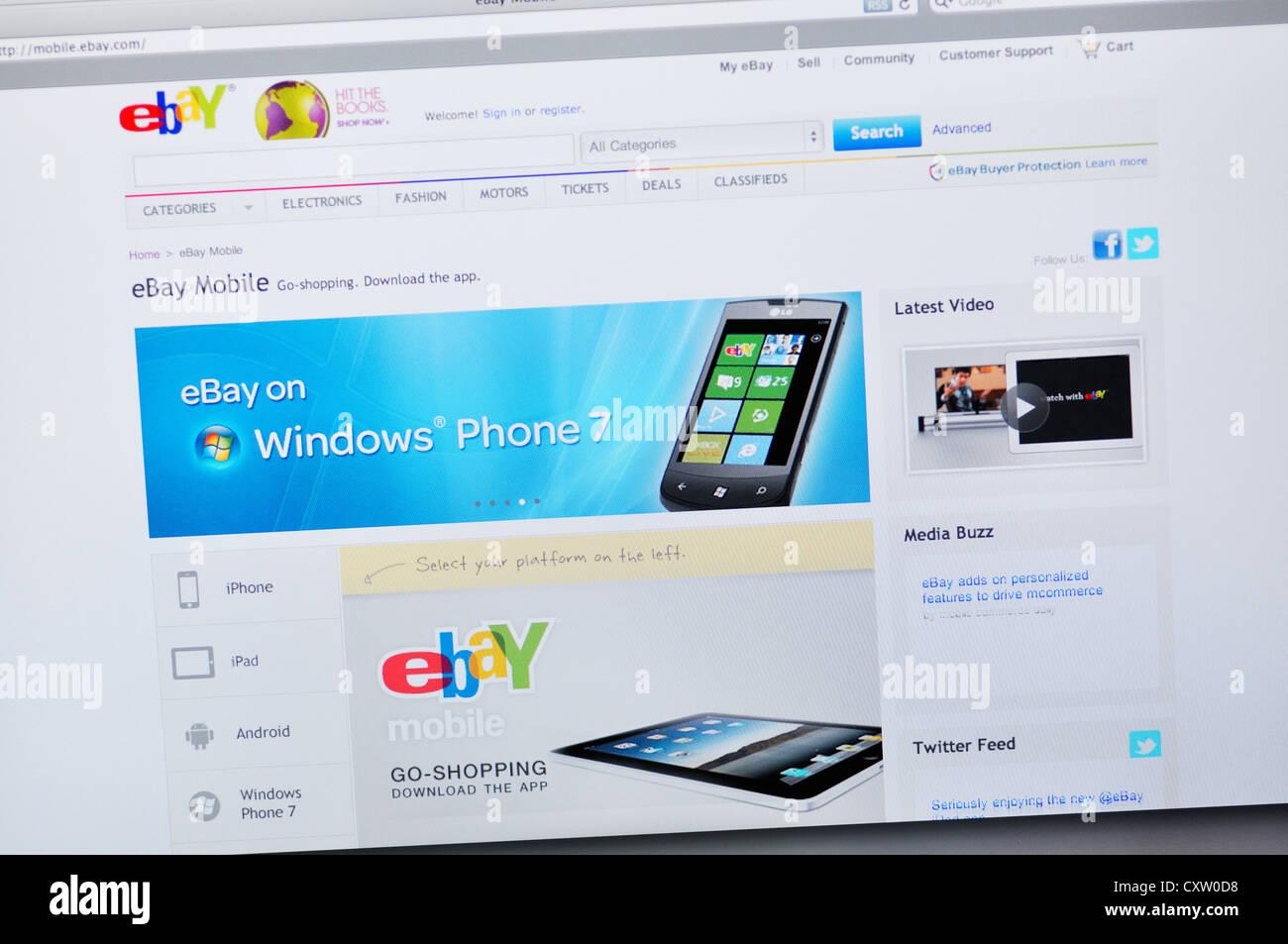 Ebay auction website - Windows Phone - Stock Image