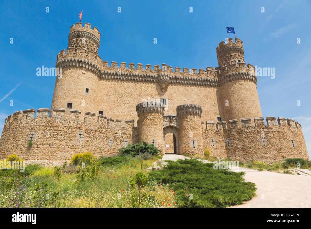 Manzanares el Real, Comunidad de Madrid, Spain. The 15th century Castle of the Mendoza. Stock Photo