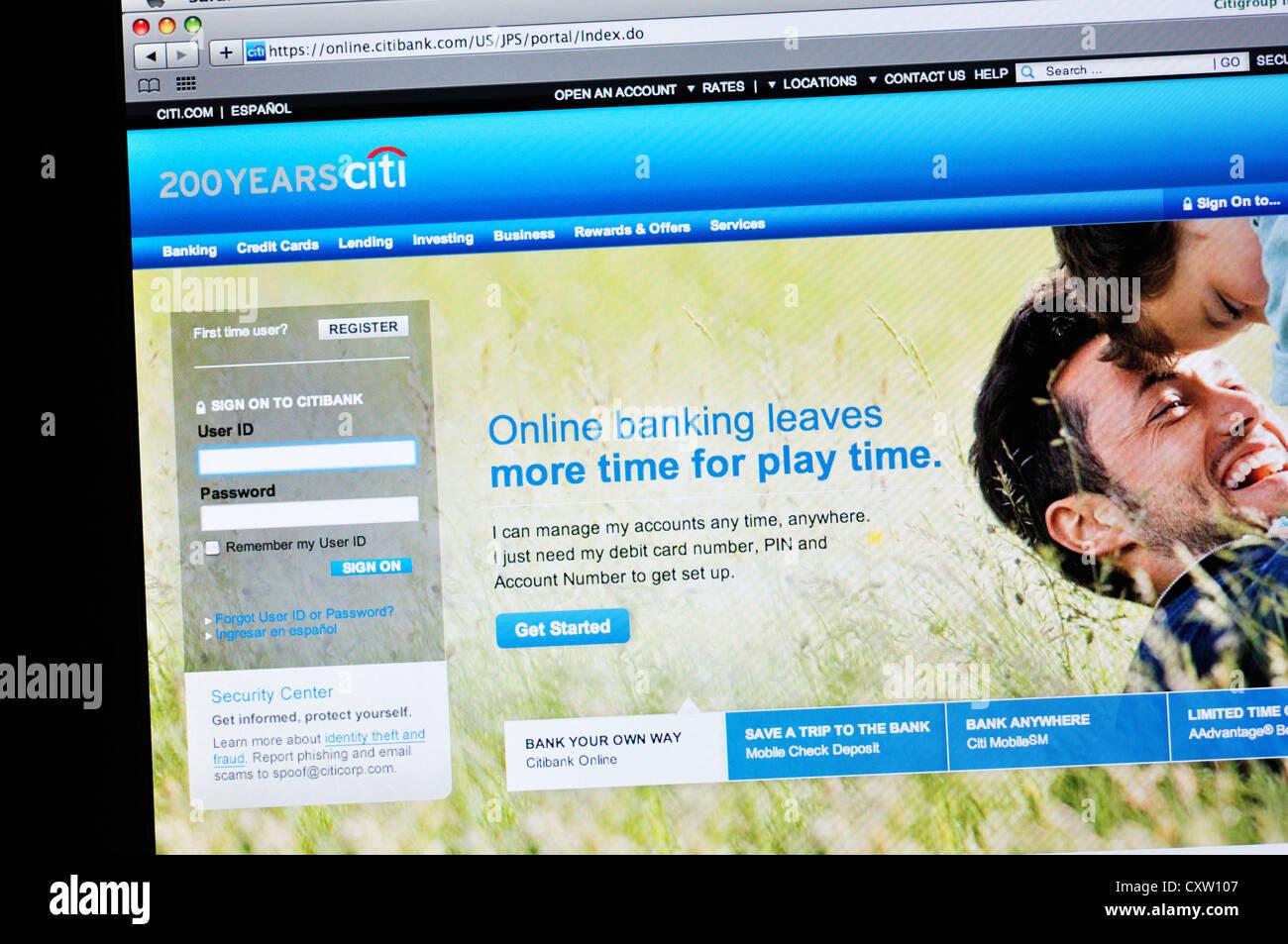 Citi bank website - online banking Stock Photo - Alamy