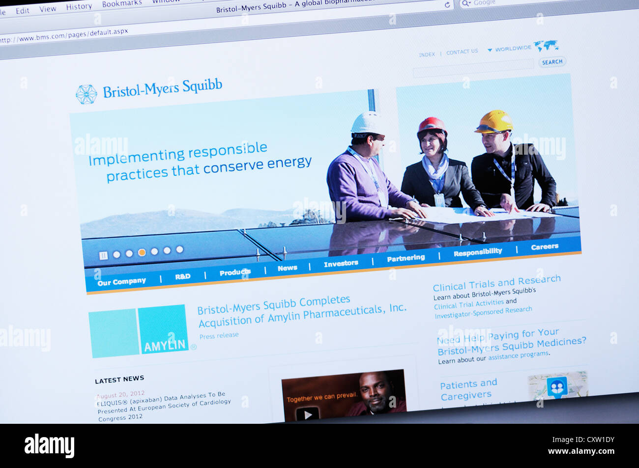 Bristol-Myers Squibb website - global biopharmaceutical company - Stock Image