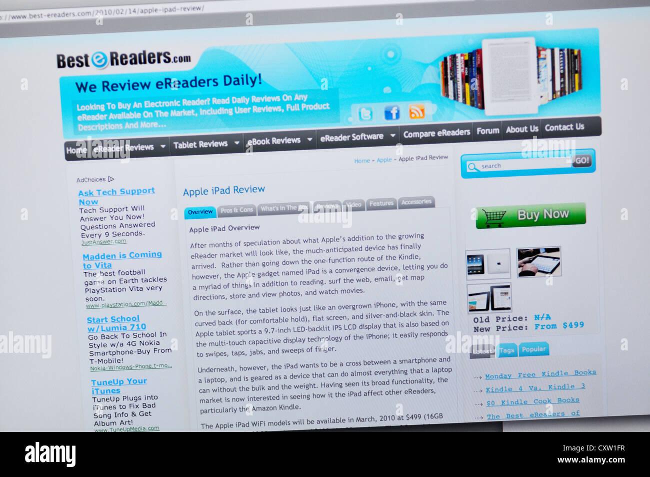 Best eReaders website - eReader reviews Stock Photo
