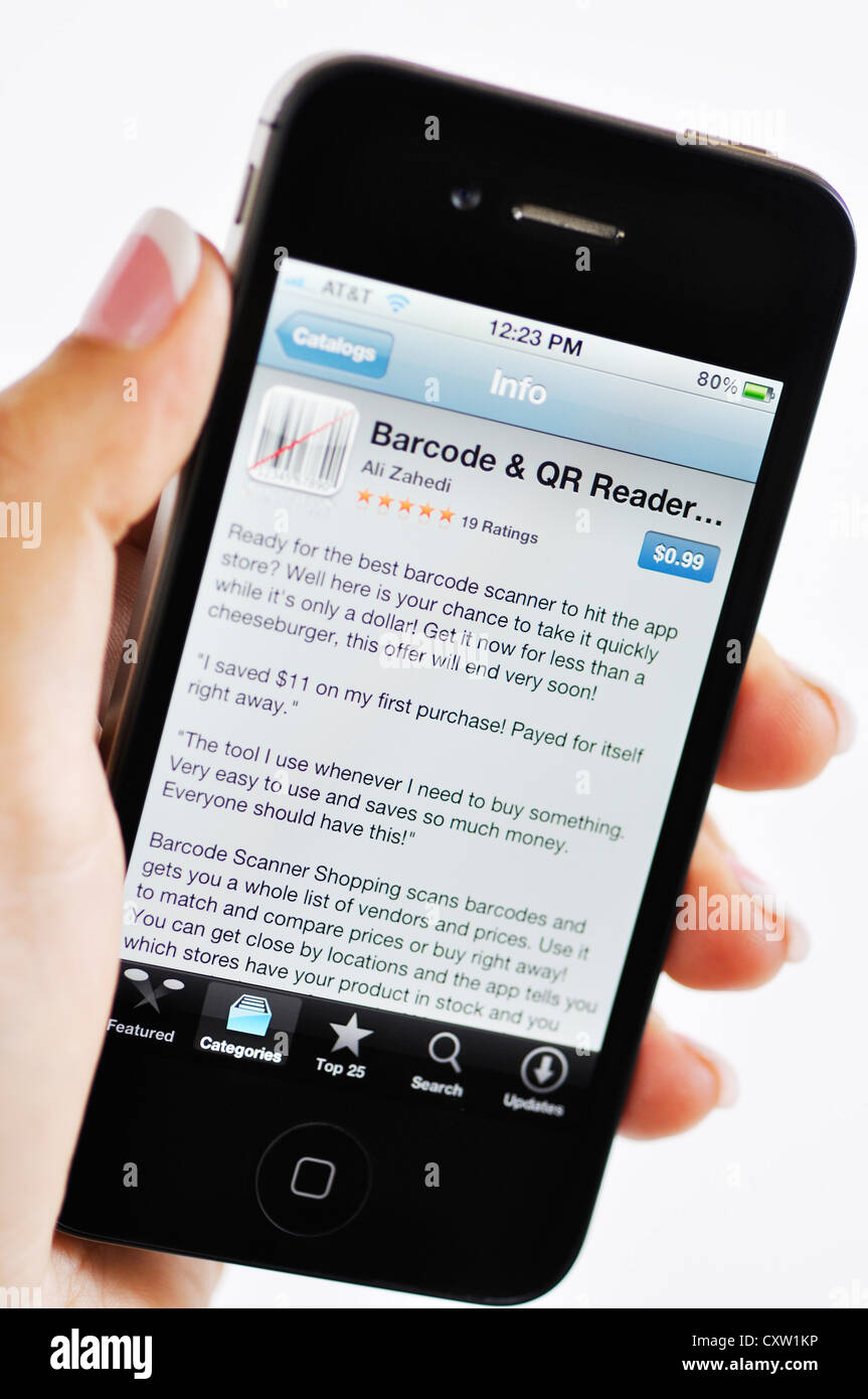 iPhone - Barcode and QR reader app Stock Photo: 50951930 - Alamy
