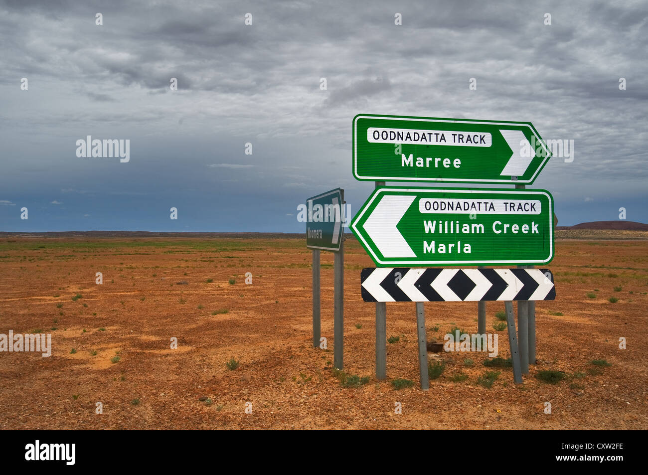 Road sign at the famous Oodnadatta Track in South Australia's desert. - Stock Image