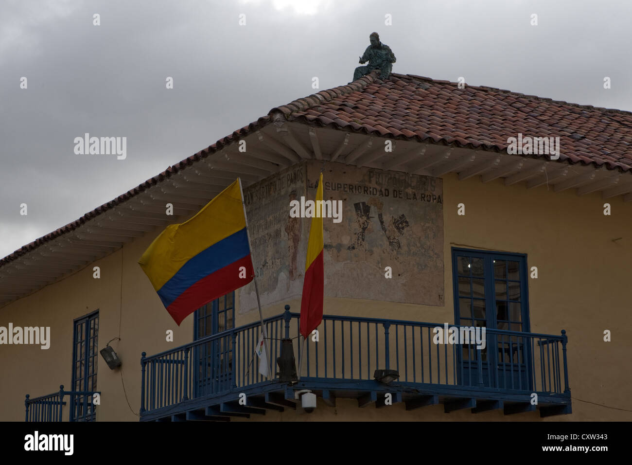 Papier mache creation on top of tourism information Shop Bogota Colombia - Stock Image