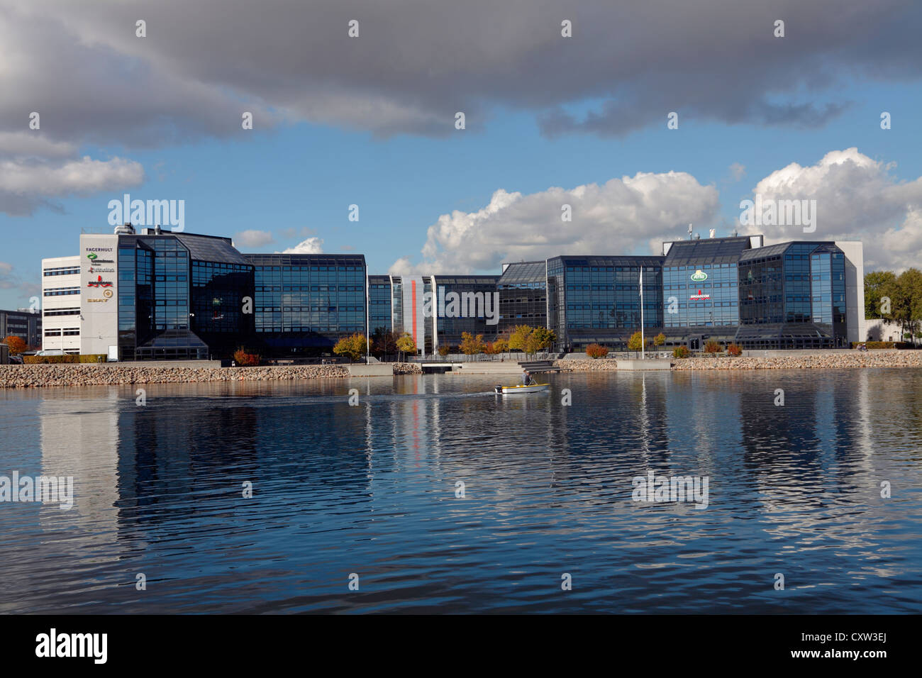 Commercial buildings on Sluseholmen in  Copenhagen South Harbour close to the southern lock and weir system, city - Stock Image