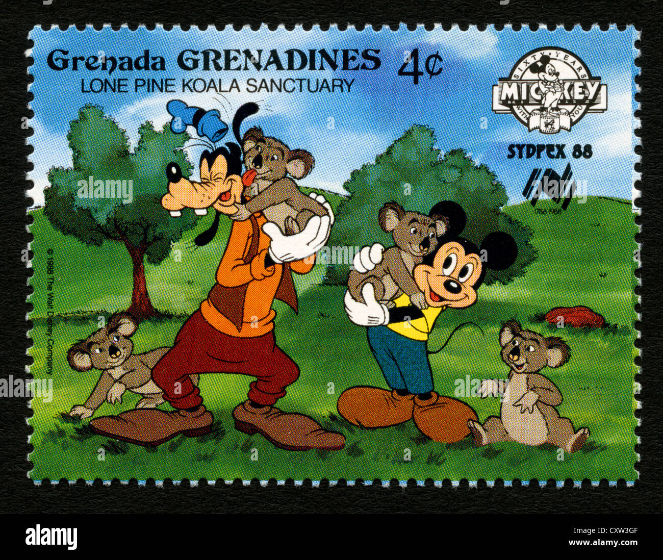 Grenada postage stamp - Disney cartoon characters - Mickey Mouse and Goofy - Stock Image