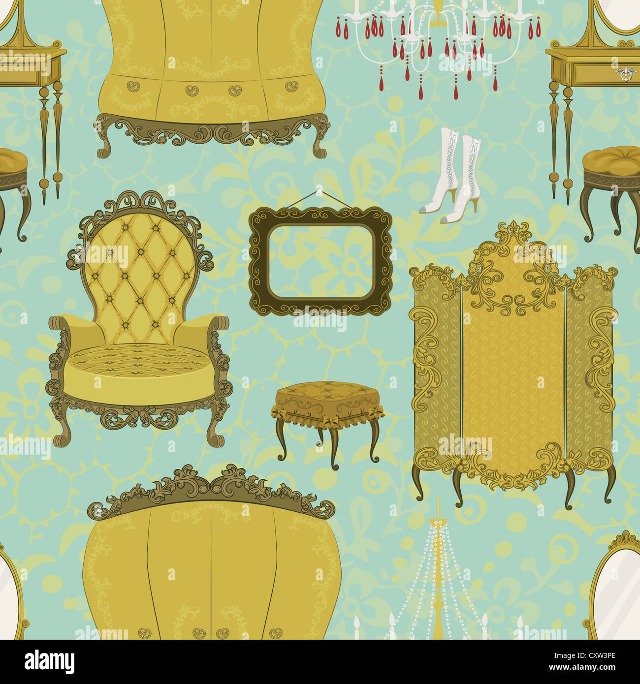 Seamless pattern with antique furniture Stock Photo