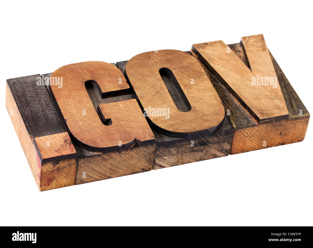 dot gov internet domain - network address for government- isolated text in vintage letterpress wood type - Stock Image
