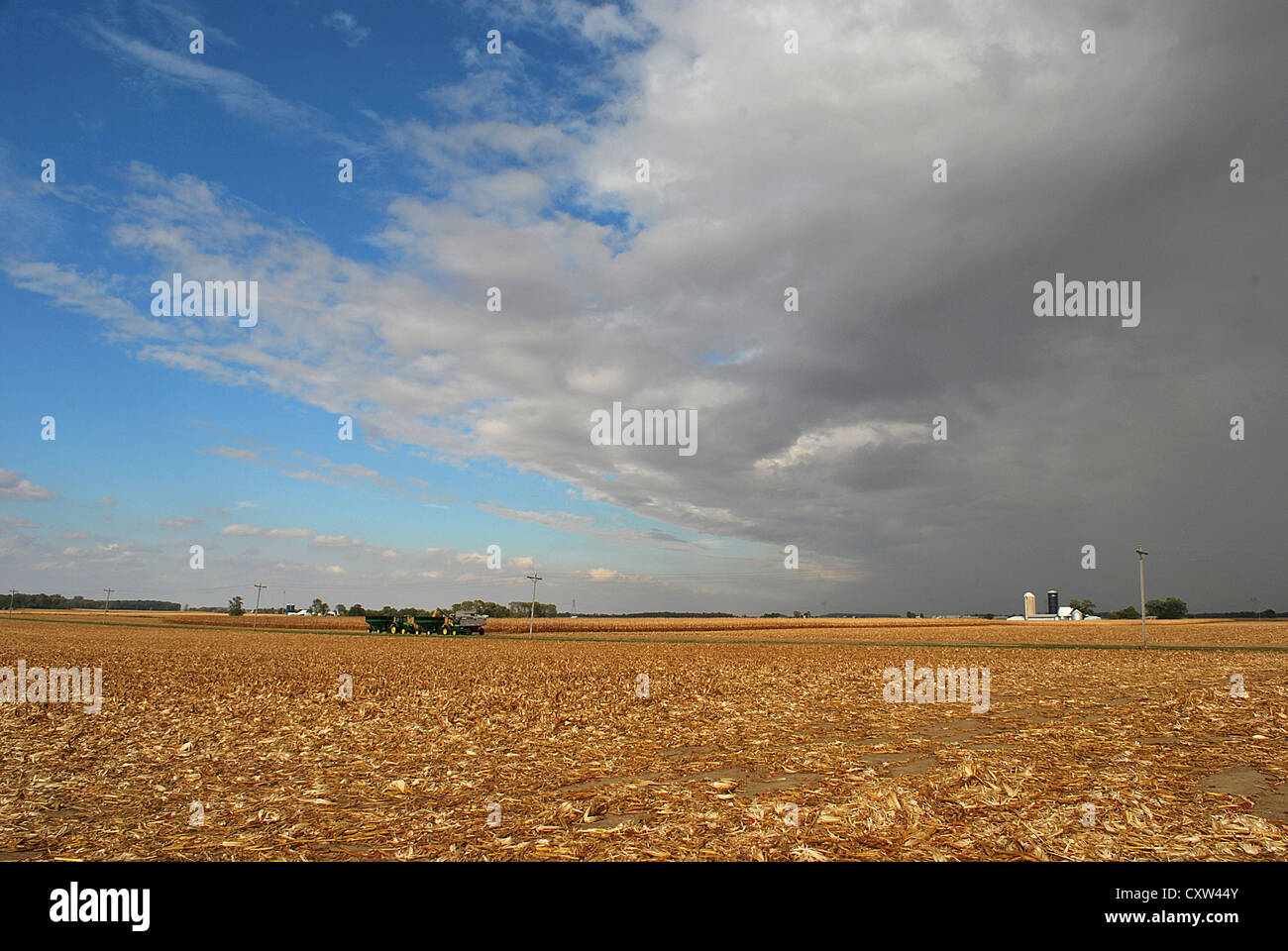 The harvest continues beneath threatening skies. - Stock Image