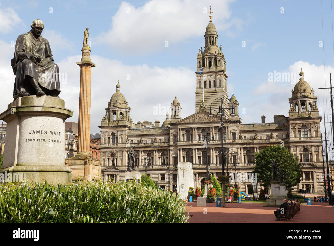 Looking East across George Square to the City Chambers in Glasgow City Centre, Scotland, UK - Stock Image