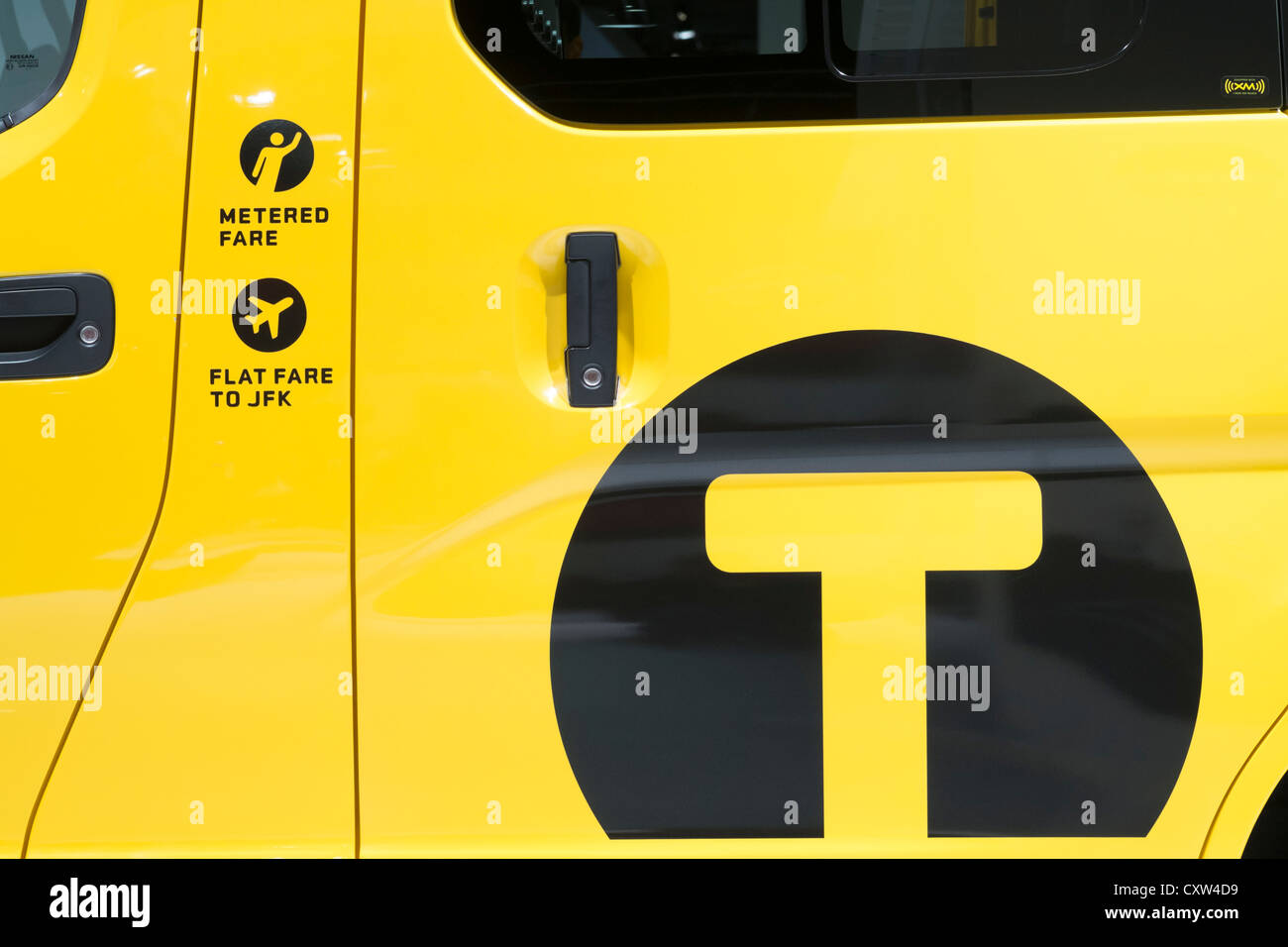 Detail of new Nissan van in livery of New York City (NYC) Taxi at Paris Motor Show 2012 - Stock Image