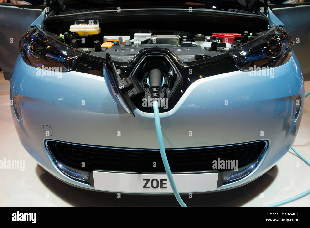 detail of renault zoe electric car with plug in charging. Black Bedroom Furniture Sets. Home Design Ideas