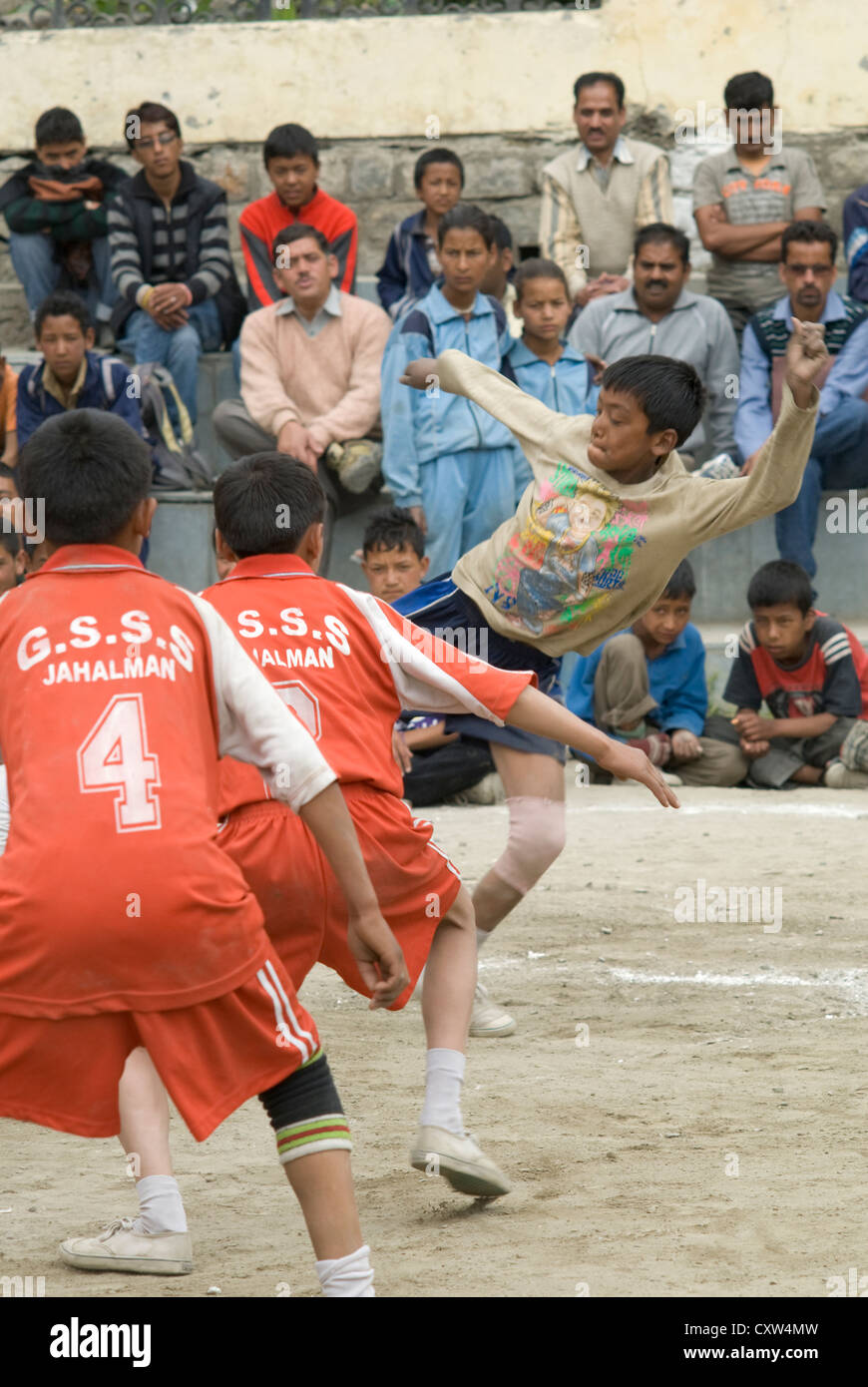 Boys from different schools compete at Kabaddi in Keylong, North India - Stock Image