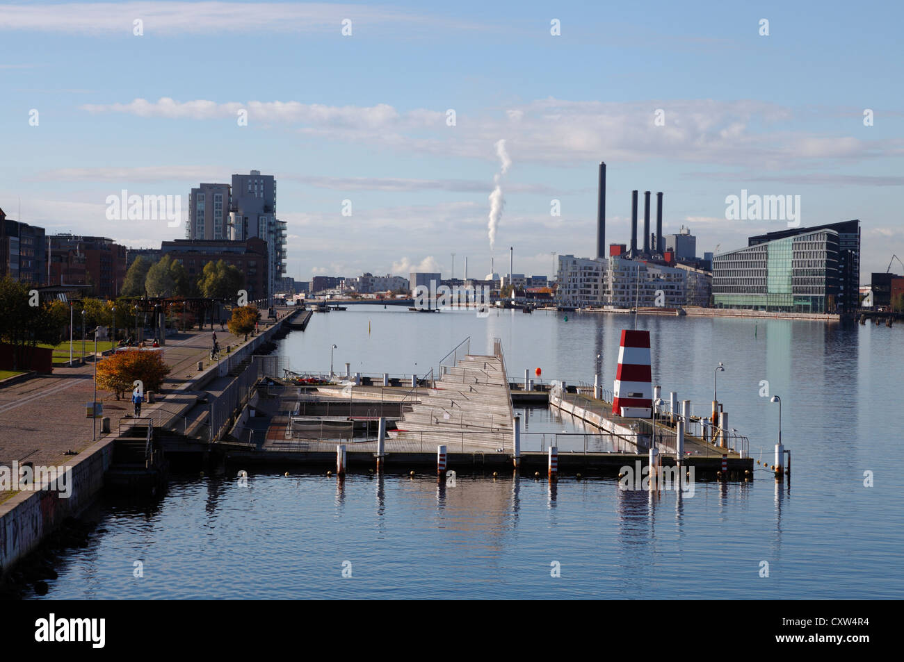 A desolate October out of season Copenhagen Harbour Bath at Islands Brygge in Copenhagen awaiting a new season. - Stock Image