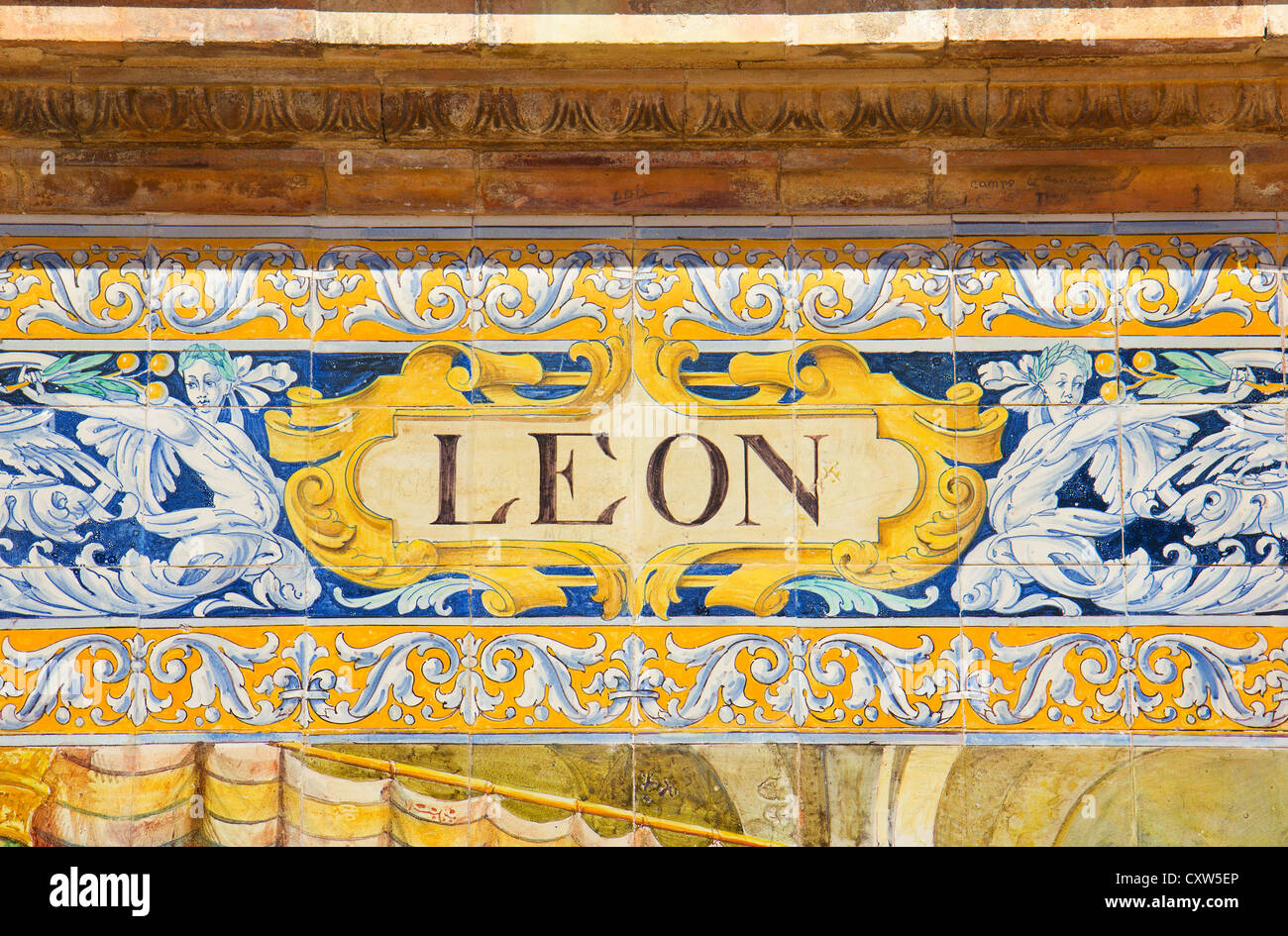 ceramic decoration on mosaic wall, Spain. Leon theme Stock Photo ...
