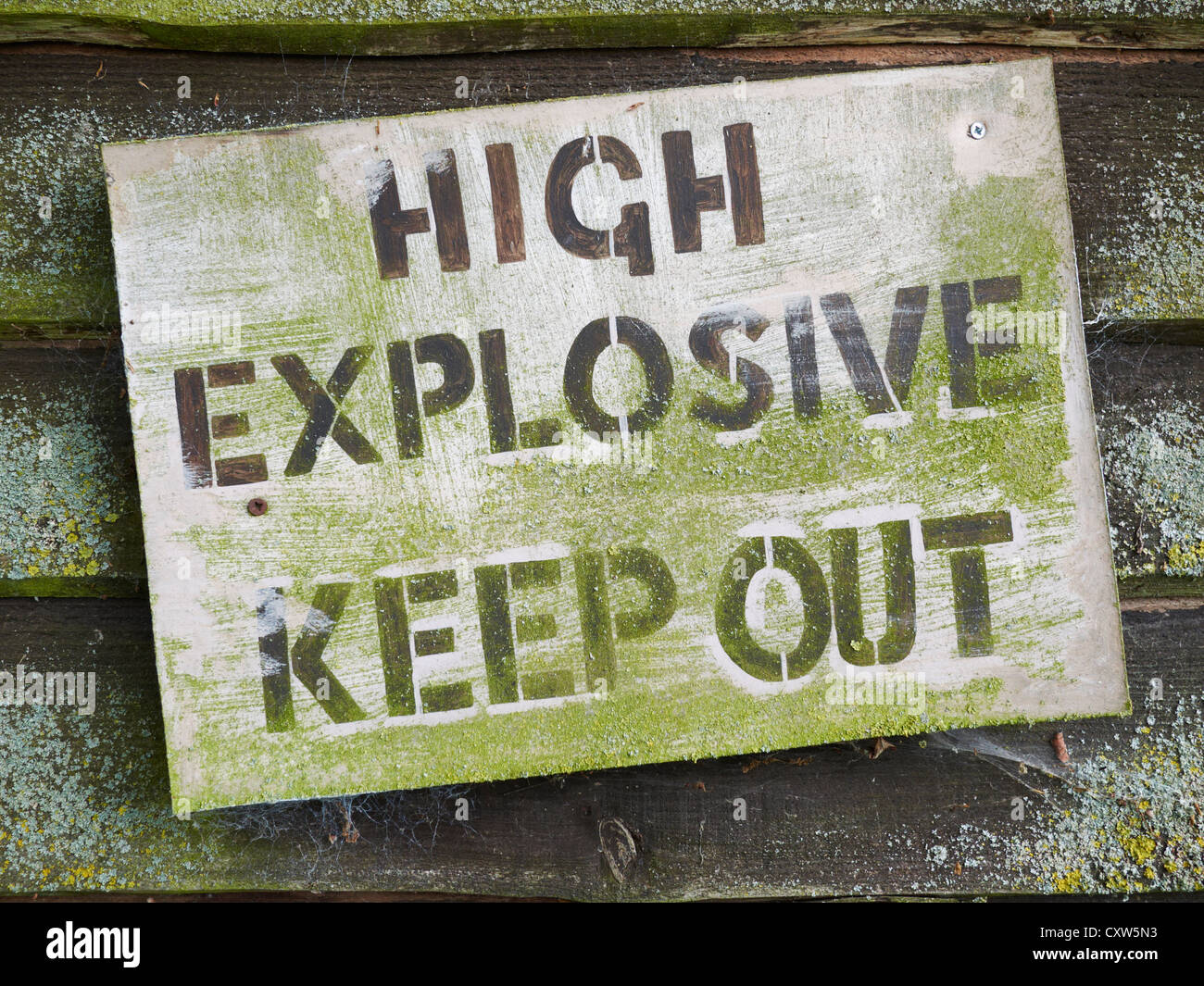 Wooden High Explosive Keep Out Sign - Stock Image