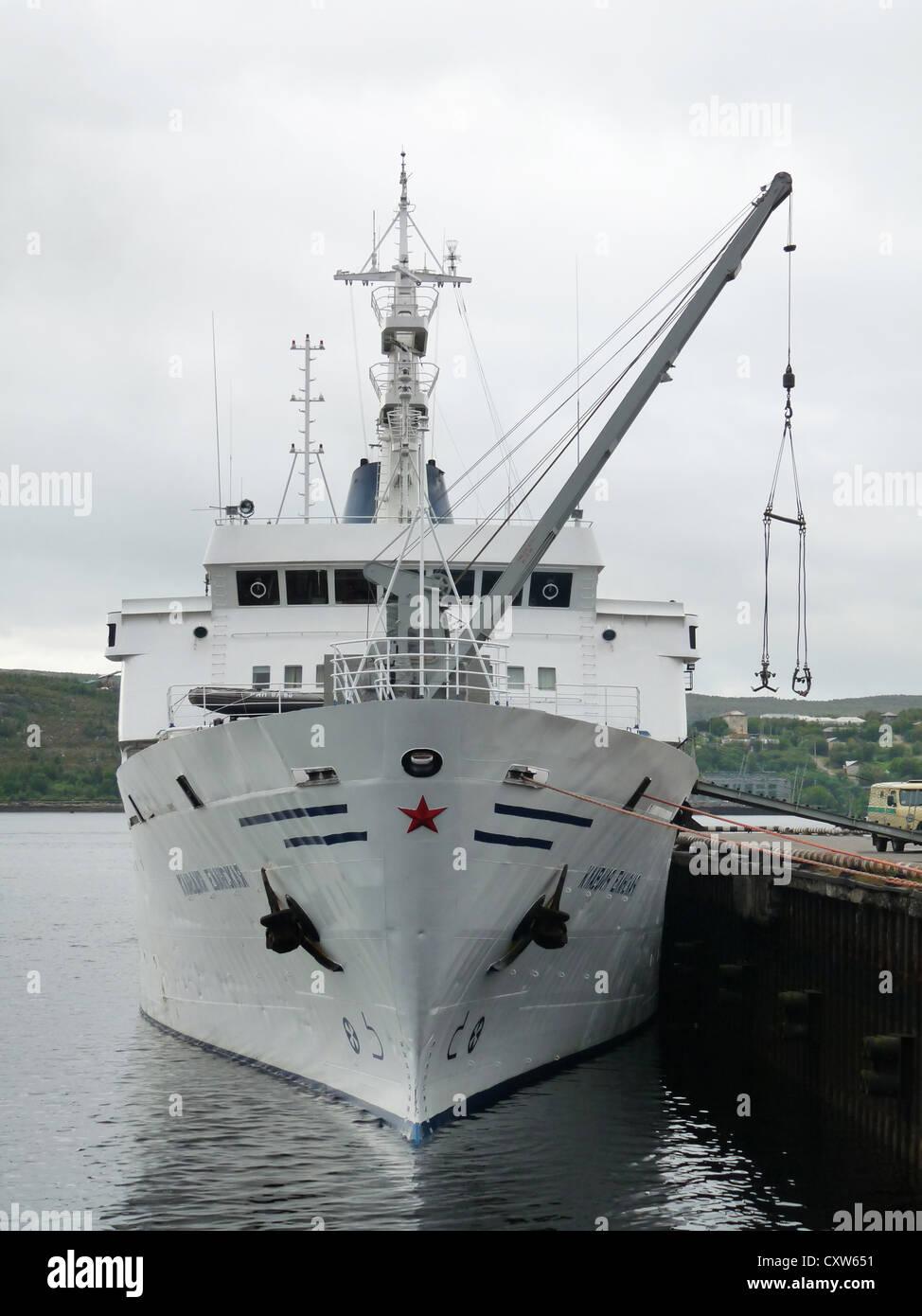 ship, the ship Claudia Elanskaya, Sea Station Murmansk, Murmansk, Russia, north, polar circle, port, - Stock Image