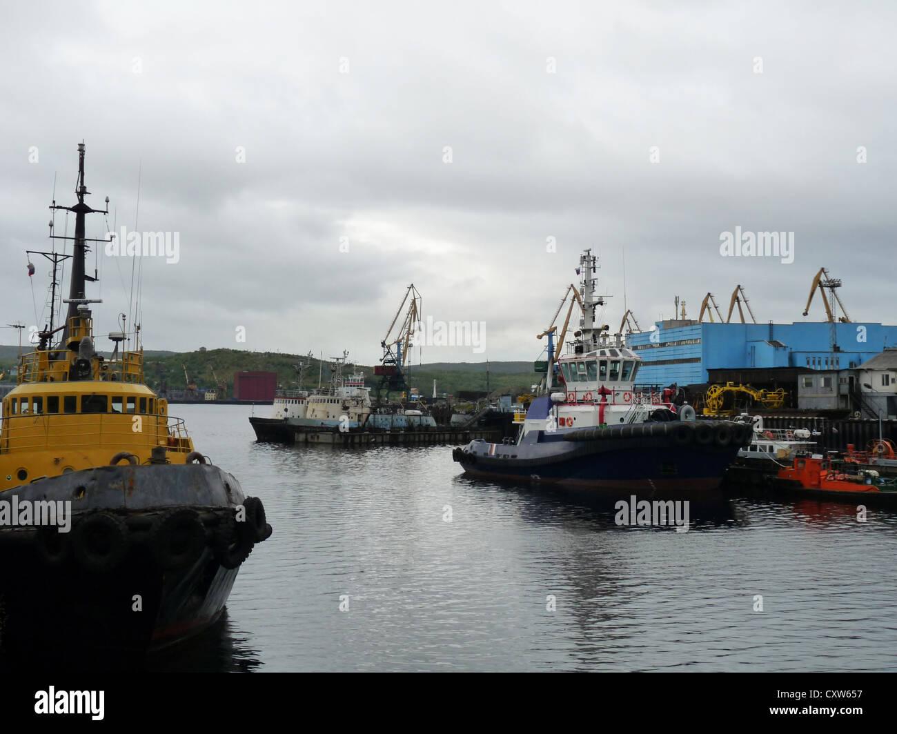 ship, ships, marine station Murmansk, Murmansk, Russia, north, polar circle, port, cargo port - Stock Image