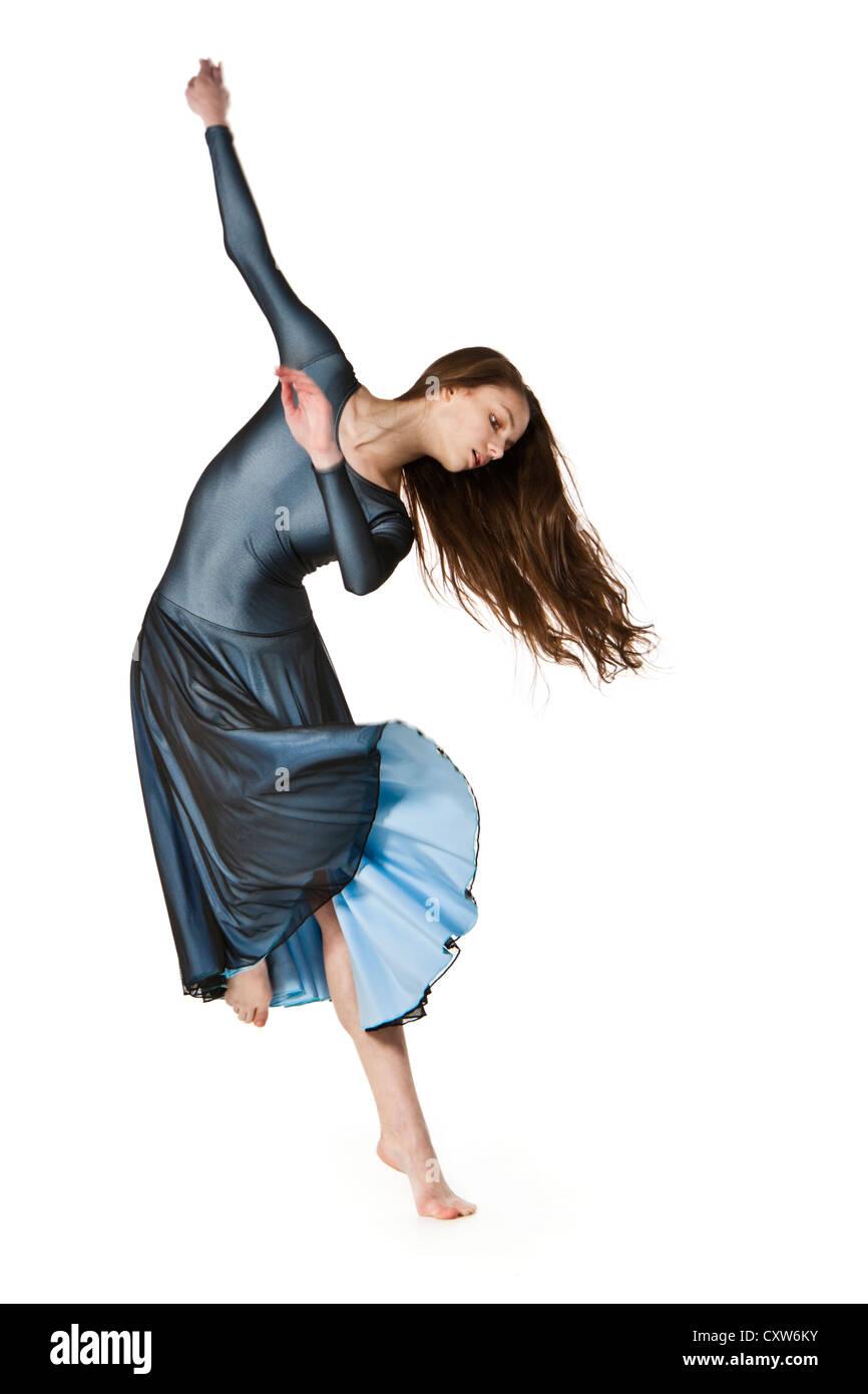 Teenage dancer in lyrical / contemporary dance costume - Stock Image