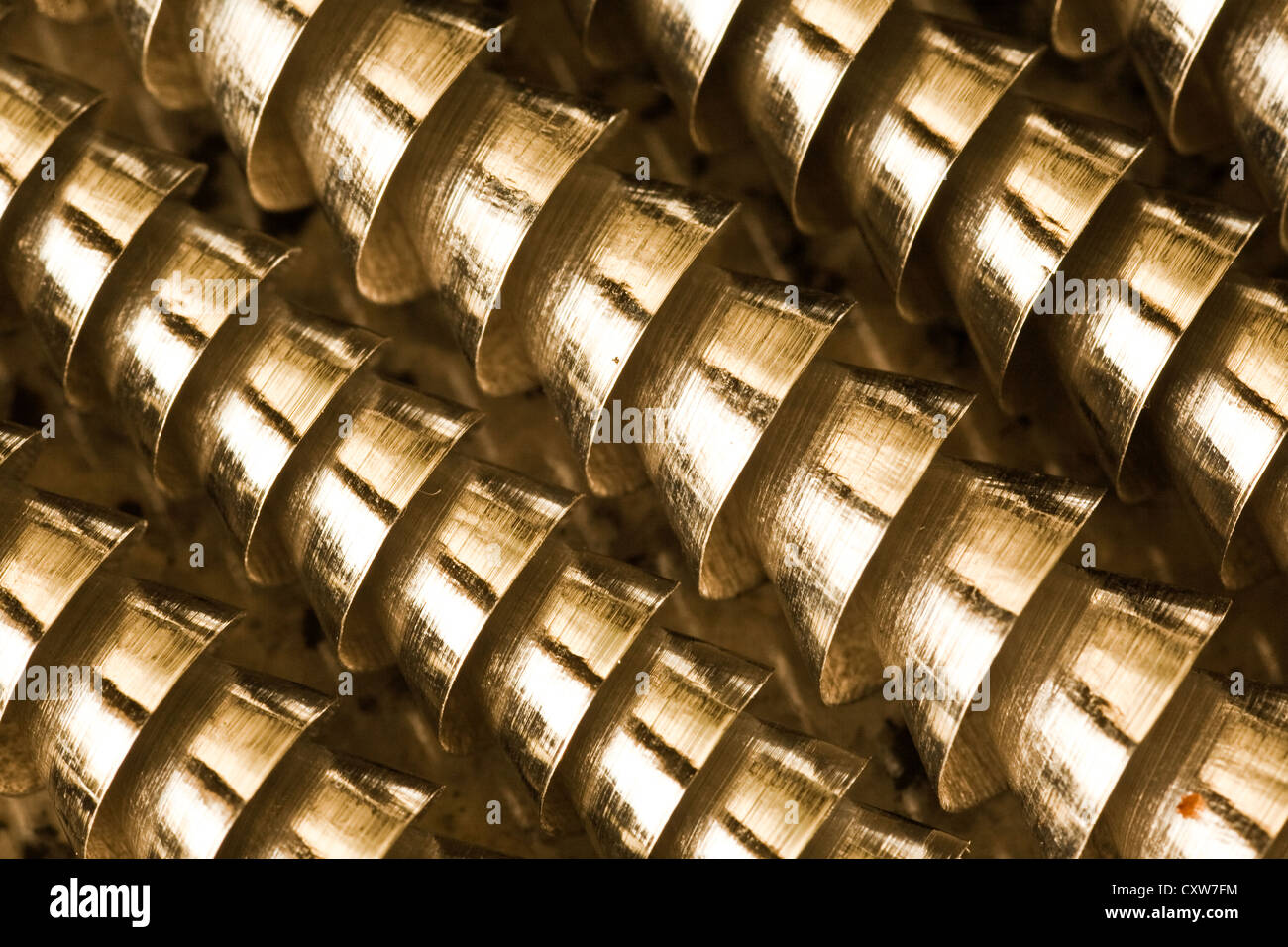 Abstract image of coiled machining swarf from a metal lathe. Number 1 - Stock Image