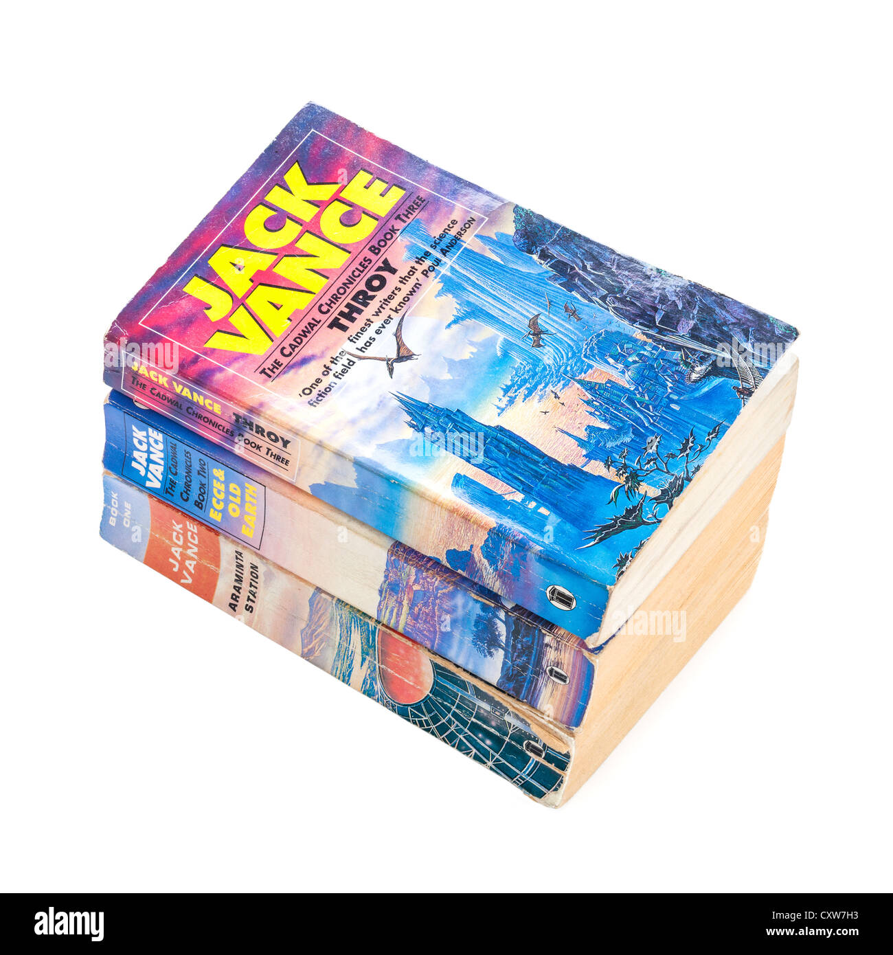 The Cadwal Chronicles trilogy by Jack Vance, stack of paperback books on white background. Focus stack, in focus - Stock Image