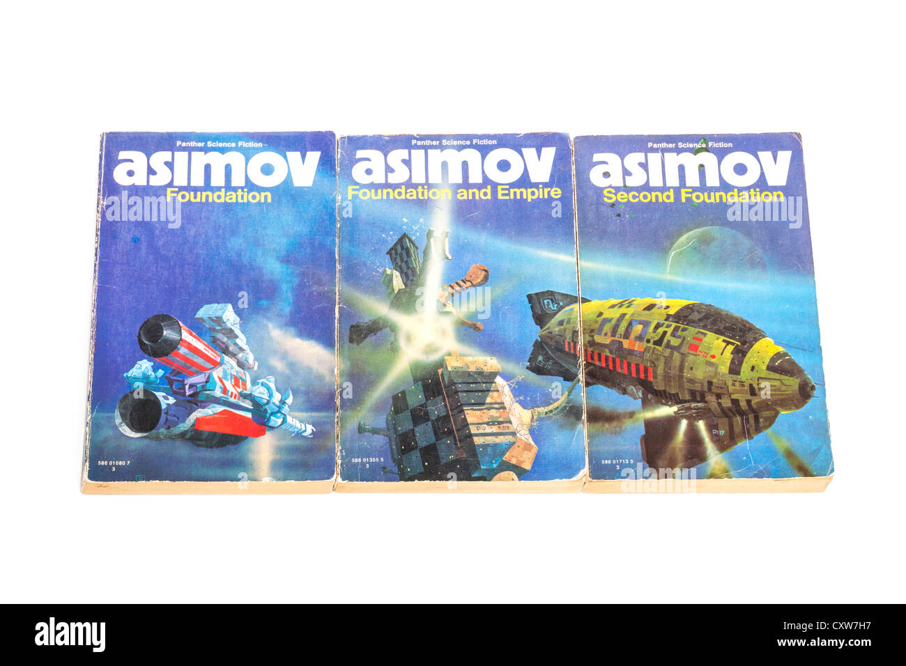 Foundation Trilogy by Isaac Asimov, printed in 1973. - Stock Image