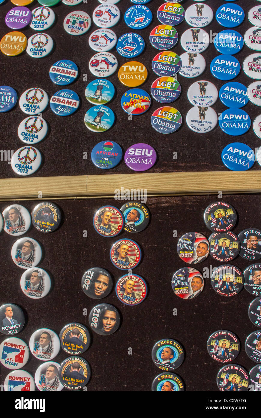 New York City, NY, USA, President Obama Presidential Campaign Buttons on Display on Street Vendor in East Village - Stock Image
