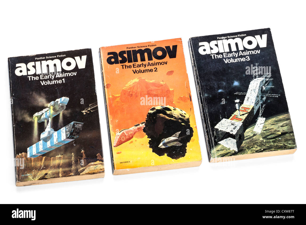 Paperback books from Panther Science fiction, Asimov, The Early Asimov, volumes 1,2,3, - Stock Image