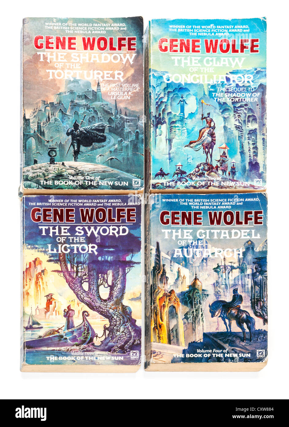 Paperback copies of the four books of the series The Book of the New Sun, by Gene Wolfe, - Stock Image