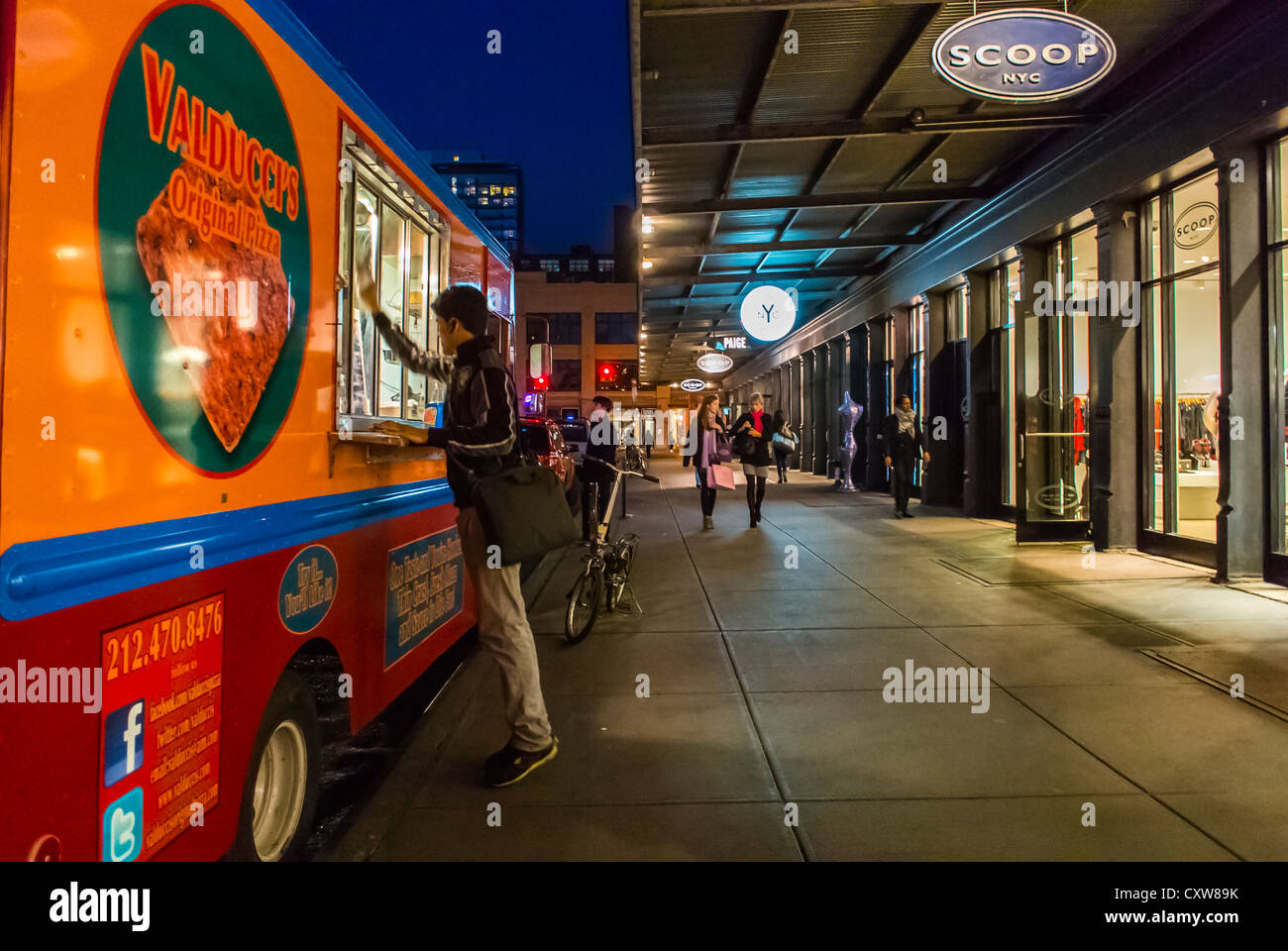 """New York City, NY, USA, Street Scenes, Man Cleaning Food Truck """"Valducci"""" at Night, in the Meatpacking District, Stock Photo"""
