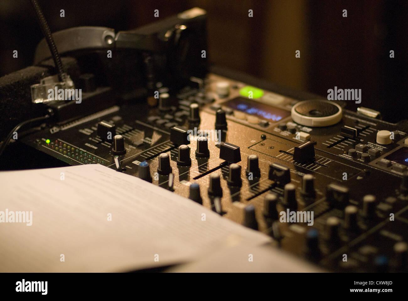 A DJ control panel console controller - Stock Image