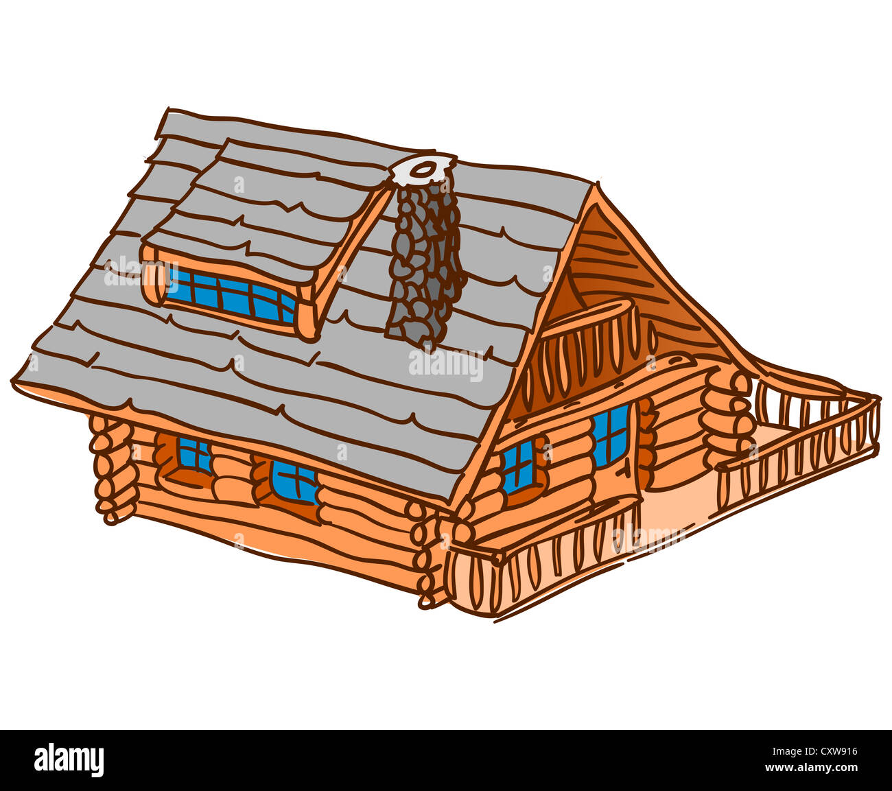 Isolated Wooden Cabin - Stock Image