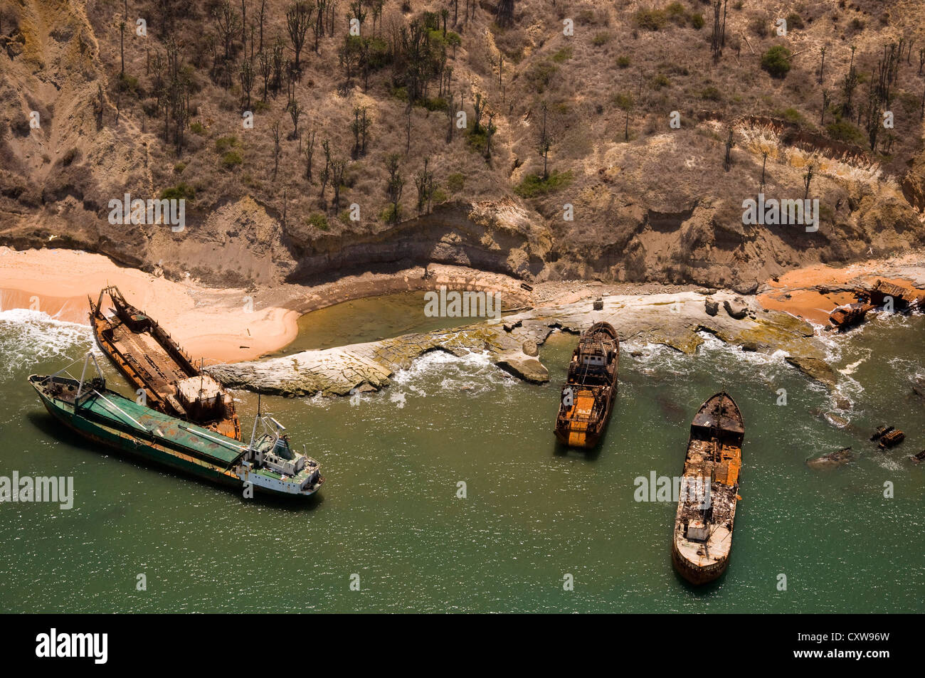 Aerial photograph of beached ships taken just north of Luanda Angola. - Stock Image
