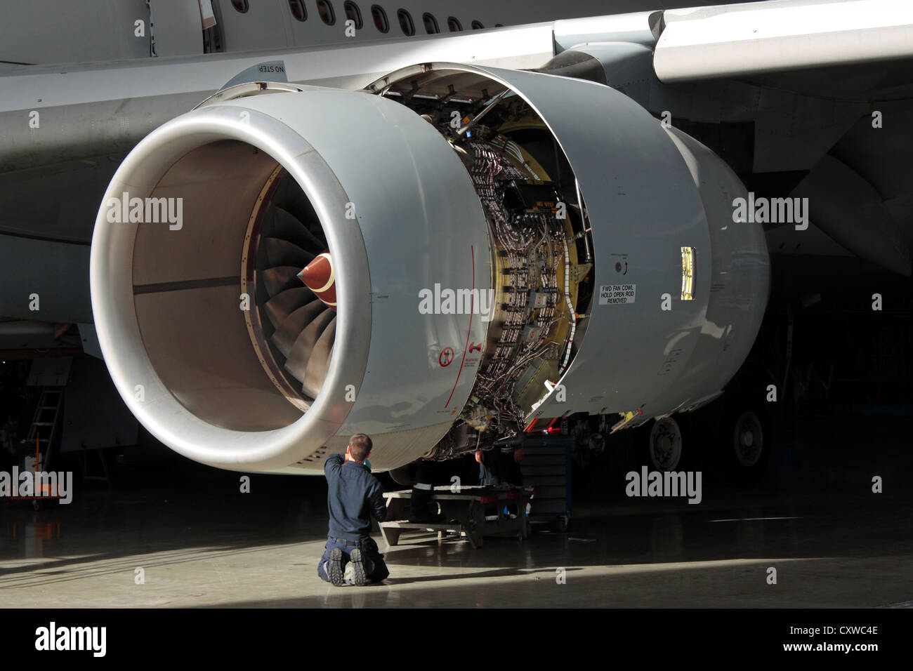 A technician carries out maintenance on a Rolls-Royce Trent 500 aircraft jet engine. Aviation engineering, knowledge - Stock Image