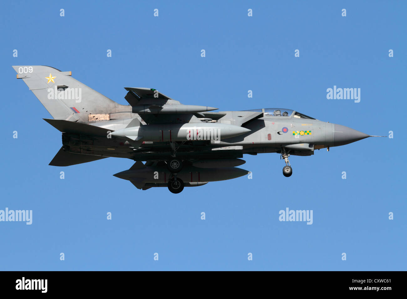Tornado GR4 tactical bomber aircraft of the Royal Air Force in flight. Military aviation. - Stock Image