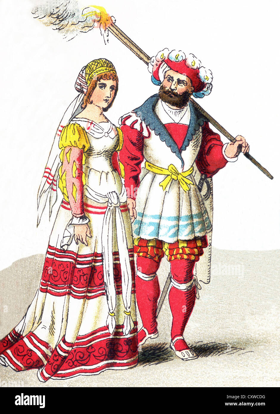 The figures pictured here represent an English couple of high rank between 1500 and 1550. The illustration dates - Stock Image