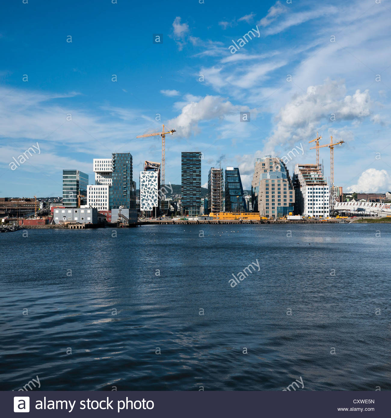 Barcode Project under construction, part of the Fjordcity development on the Oslo waterfront: Oslo, Norway. - Stock Image