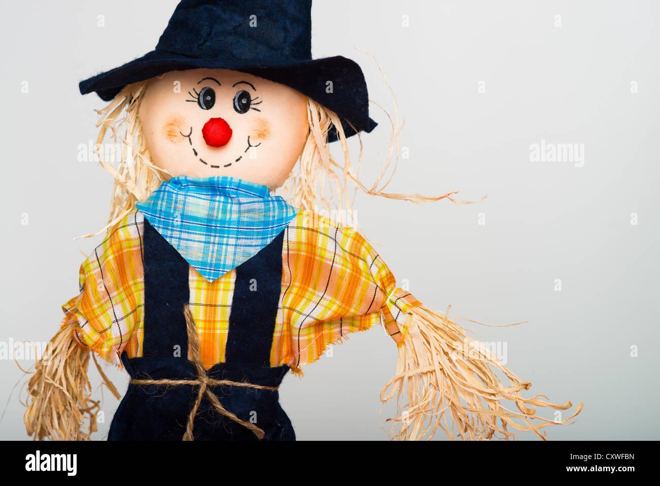 Halloween straw scarecrow doll - Stock Image
