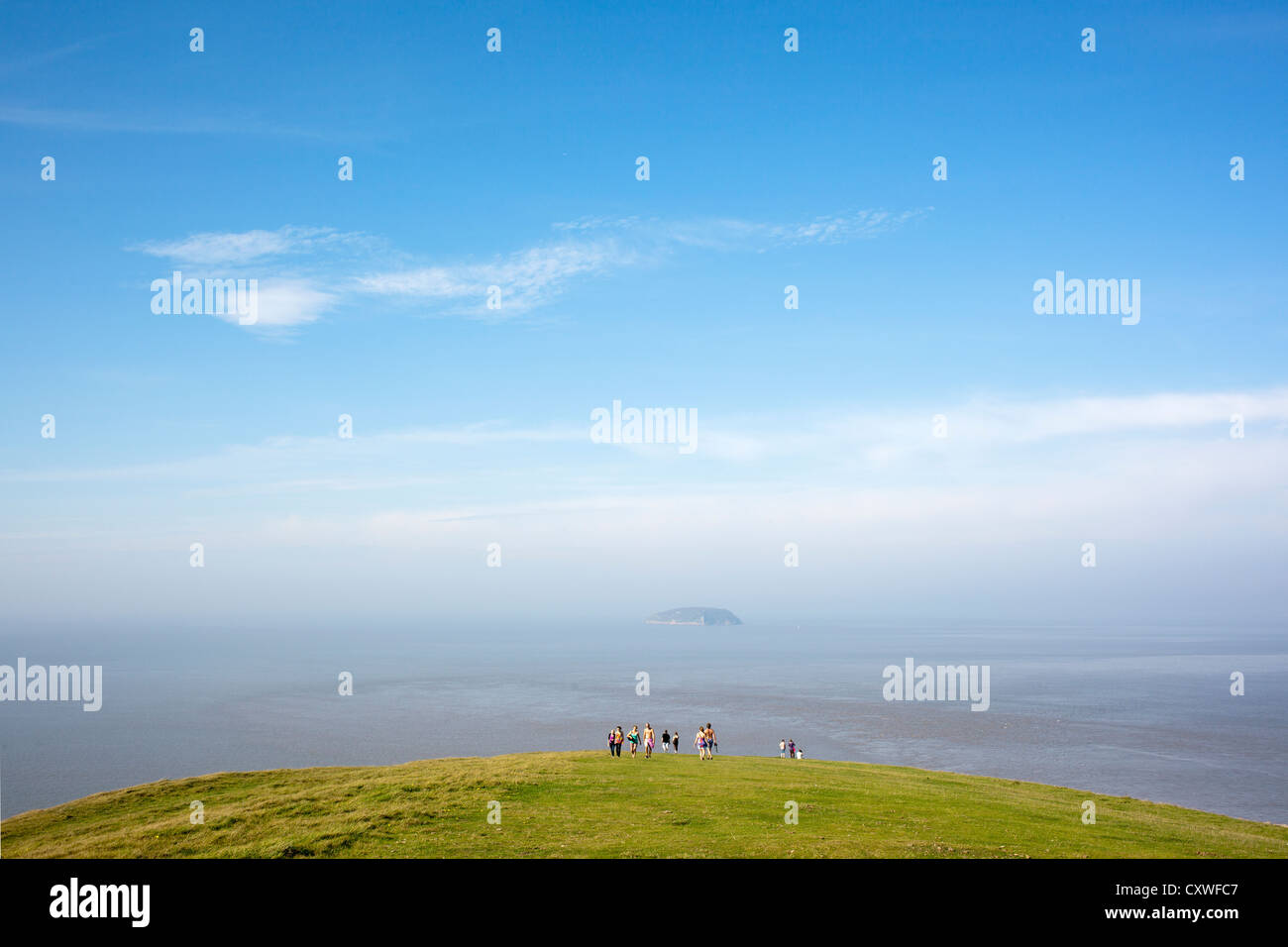 View from cliff edge over Bristol Channel onto Steep Holm Island at Brean Down, Somerset, England Stock Photo
