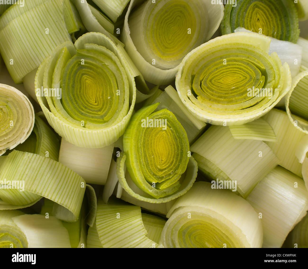 Leeks - cut, sliced - Stock Image