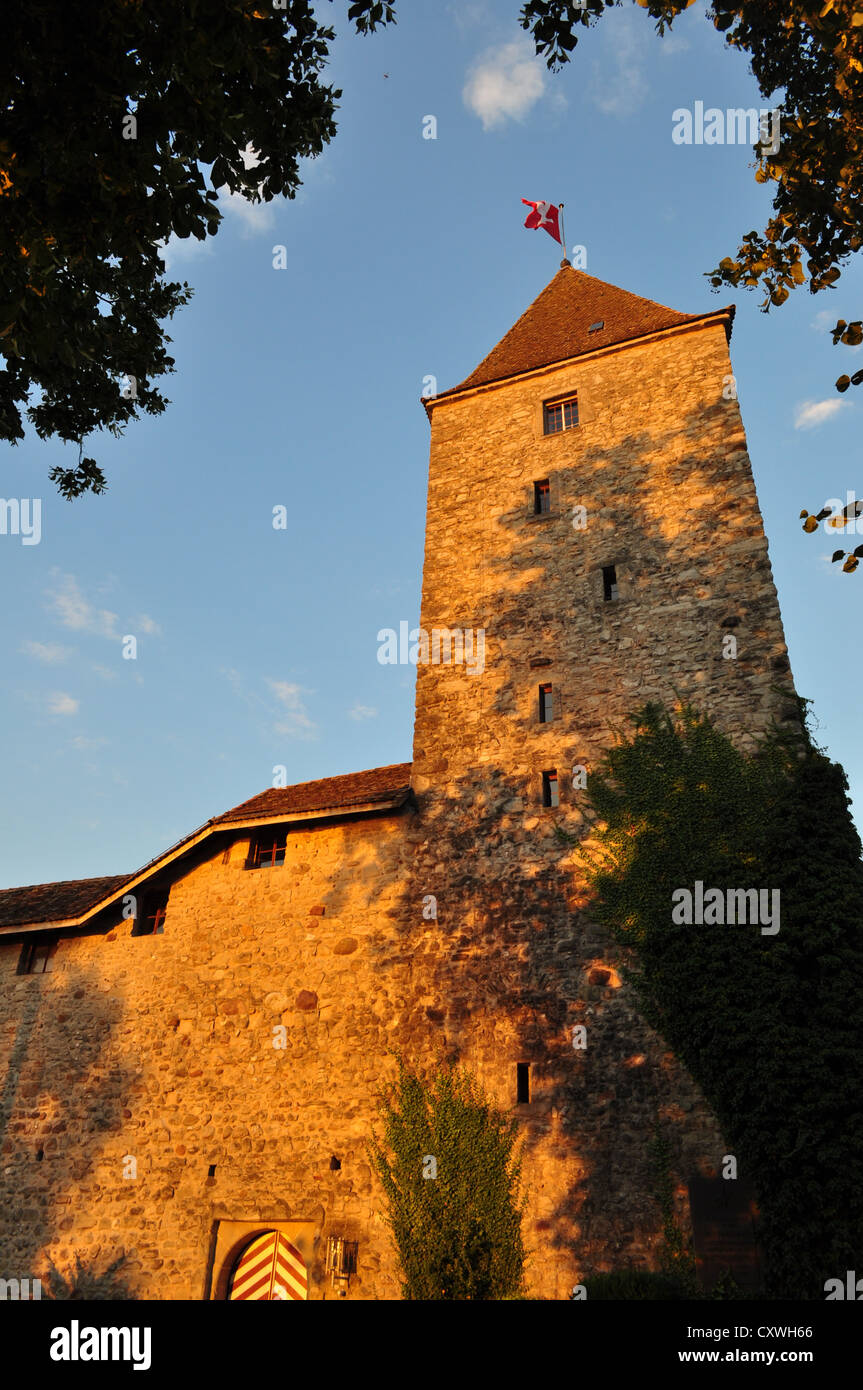Sunset on Rapperswil castle, Switzerland - Stock Image