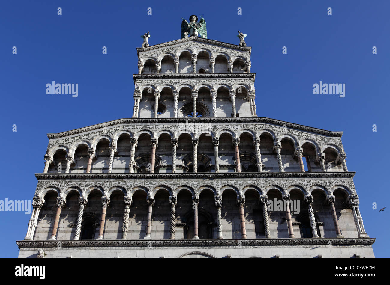 The facade of Church of San Michele in Foro, Lucca, Italy - Stock Image