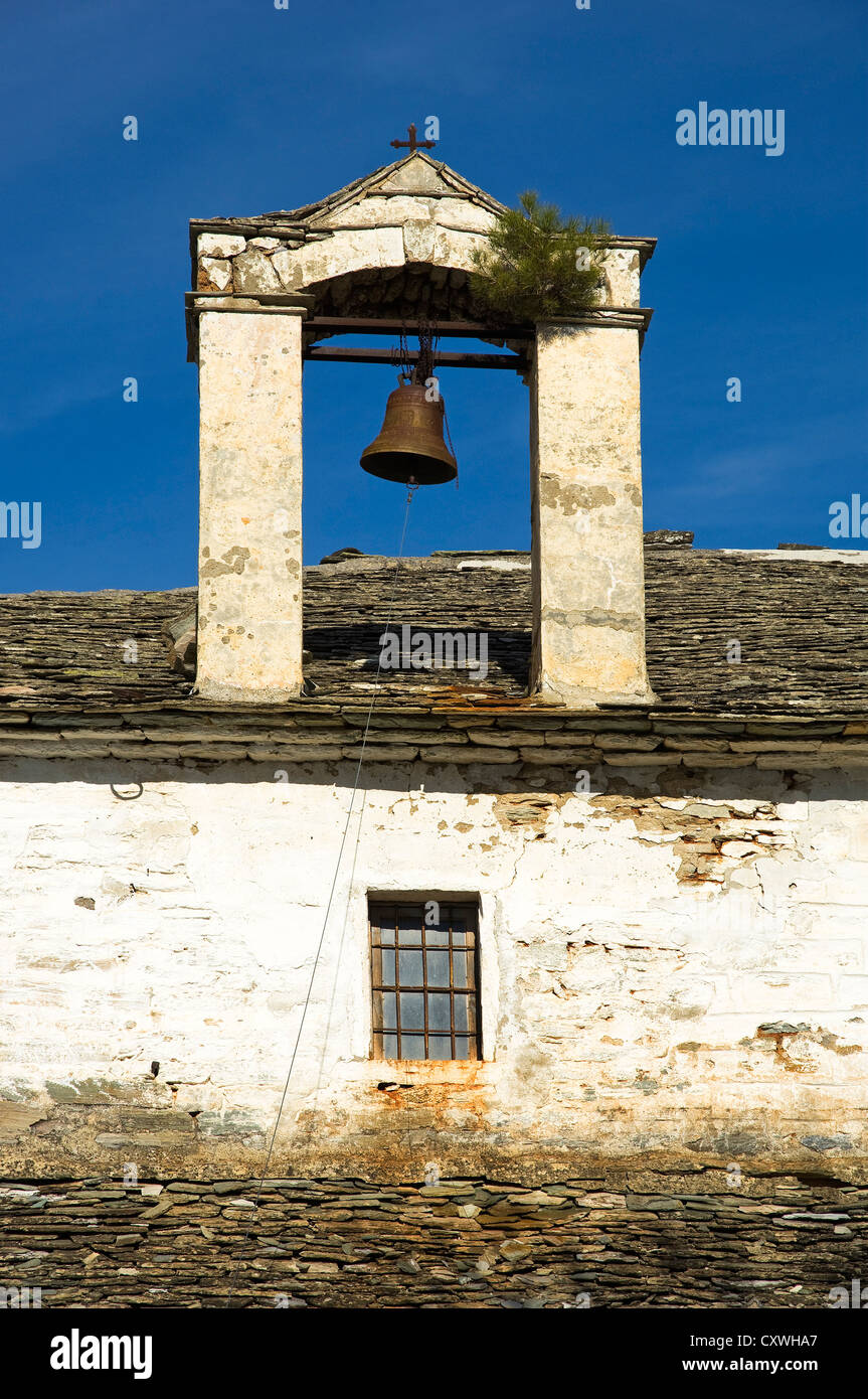 Belfry of an old Greek orthodox church near Agios Georgios (Pelion Peninsula, Thessaly, Greece) - Stock Image