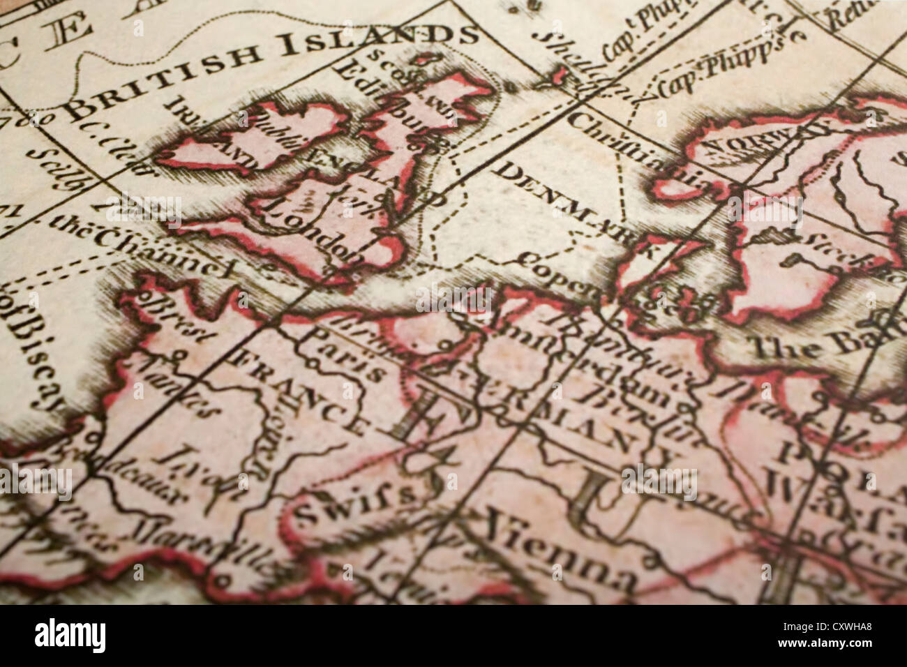 Old Map Of Britain And Europe With The Focus On London Map Is From