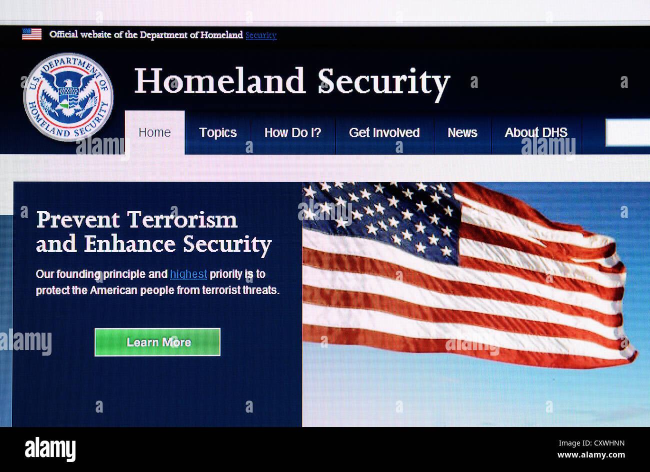 The USA Homeland security web site - Stock Image